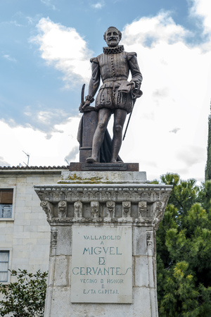novelist: Valladolid, Spain - March 23, 2016: Statue of Cervantes, Spains most famous author, in Valladolid, Castile and Leon, Spain.
