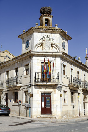 mayoral: Langa de Duero, Spain - March 24, 2016:  Langa de Duero Town Hall, is a Spanish municipality in the province of Soria, Spain. Stock Photo