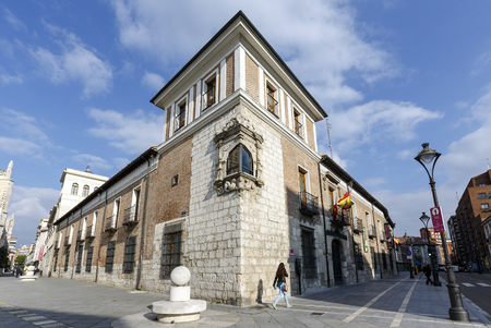 birthplace: Valladolid, Spain - March 23, 2016: Valladolid Pimentel Palace. Birthplace of King Philip II. Example of palatial architecture in Valladolid, now home to the Provincial de Valladolid. spain Editorial