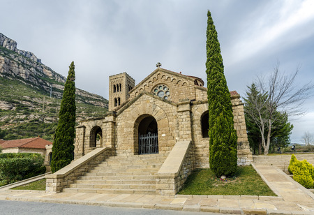 Church of the Mare de Deu del Roser, Our Lady of rosary, Neo-Romanesque cultural heritage and place of worship. Monistrol de Montserrat, Province of Barcelona Spain Stock Photo