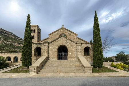 place of worship: Church of the Mare de Deu del Roser, Our Lady of rosary, Neo-Romanesque cultural heritage and place of worship. Monistrol de Montserrat, Province of Barcelona Spain Stock Photo