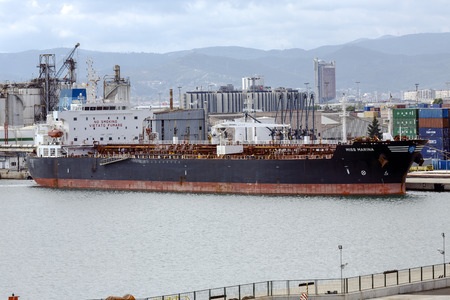 tonnage: Barcelona, Spain - September 26, 2015: Miss Marina Chemical Tanker docked at the international port of Barcelona with a Gross Tonnage of 29814 t and 50895 t Deadweight