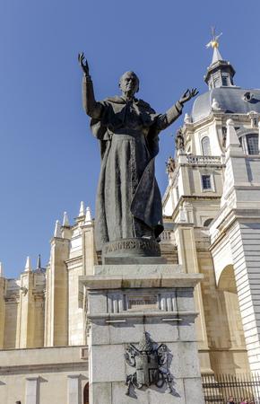paulus: Statue of Pope John Paul II in front of in Madrid, Spain Almudena