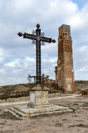 battles: Belchite is a town in the province of Zaragoza Spain. Is known to have been the scene of one of the symbolic battles of the Spanish Civil War, the Battle of Belchite. Now it is abandoned. Stock Photo