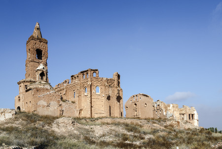 Belchite is a town in the province of Zaragoza Spain. Is known to have been the scene of one of the symbolic battles of the Spanish Civil War, the Battle of Belchite. Now it is abandoned. Stock Photo