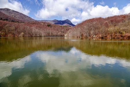 Lake Santa Fe, Montseny. Spain. Located in a beautiful setting of Barcelona. Autumn colors Stock Photo