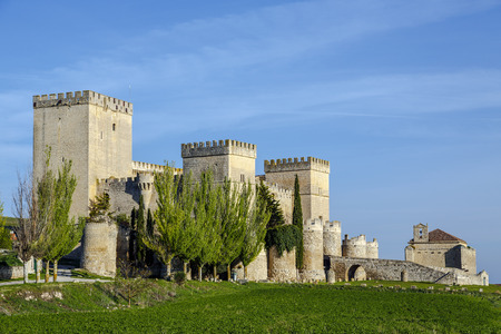 palencia province: Castle and medieval church in Ampudia Palencia province, Spain Editorial