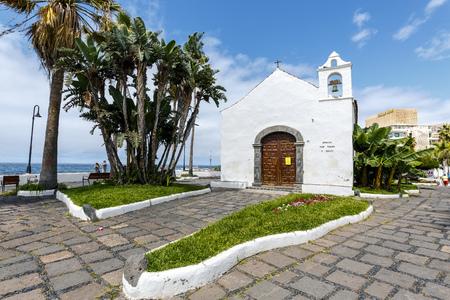 Puerto de la Cruz, Spain - August 16, 2015:  Typical canarian church ermita de San Telmo in Puerto de la Cruz, Tenerife, Canarias, Spain