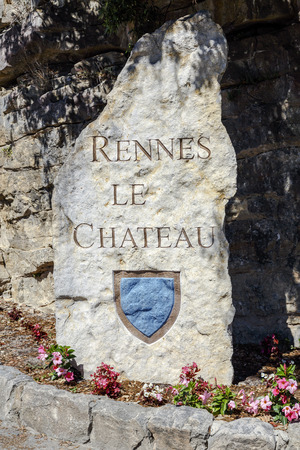 Rennes le Chateau Village stone sign at the entrance, France