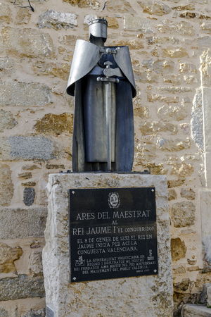 joaquin: Ares del Maestrat, Spain - October 16, 2016: Statue of James I the Conqueror, in this town begins the conquest of Valencia in 1232. Project Pelecha Manuel and Joaquin Fandos, Design, Angels Moya