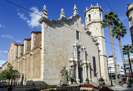 St. Bartholomews Church Benicarlo, Castellon Province, Spain. in Baroque style. patron of the city, along with the saints Abdon and Senen. Stock Photo