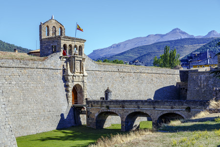 bastion: Detail of the entrance of the Jaca Ciudadela, a fortification from the XVI century in the Spanish Pyrenees.