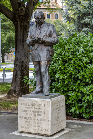 hometown: Pamplona, Spain - August 21, 2016:  Statue tribute to Jose Joaquin Arazuri, physician and historian of his hometown. In July 2003, a monument was inaugurated in his honor on the promenade named after the sculptor Rafael Huerta.