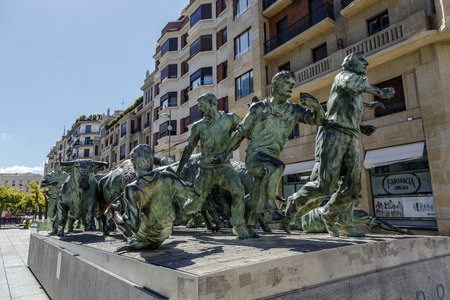 san rafael: Pamplona, Spain - August 21, 2016: Monument of Encierro Running of the Bulls in historic part of Pamplona, the monument is dedicated to the traditional festival of San Fermin. by Rafael Huerta Celaya
