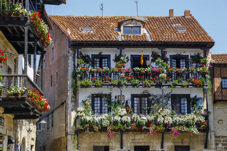 Balcony of a typical house of the medieval village of Santillana del Mar in Cantabria, Spain Stock fotó - 67254281