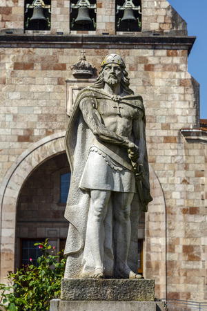 iconography: Statue of Don Pelayo, victor of battle at Covadonga and first King of Asturias Stock Photo
