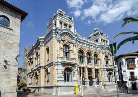 Llanes, Spain - August 24, 2016: Casino de Llanes (Asturias, Spain), modernist building, designed by the architect Juan Alvarez Mendoza. Editorial