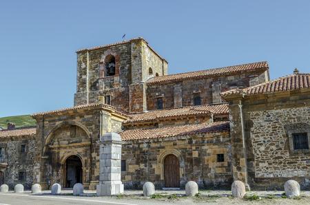 Collegiate church of Santa Maria de Arbas the port houses along the road in the province of Leon in Spain Banco de Imagens