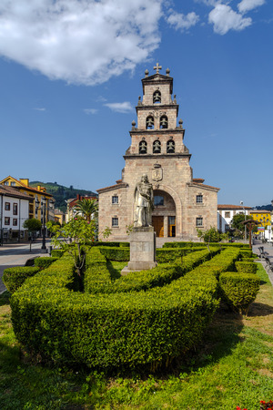 Church of the Assumption of Cangas de Onis, Asturias Spain and Statue of Don Pelayo, first king of Spain. Stock Photo