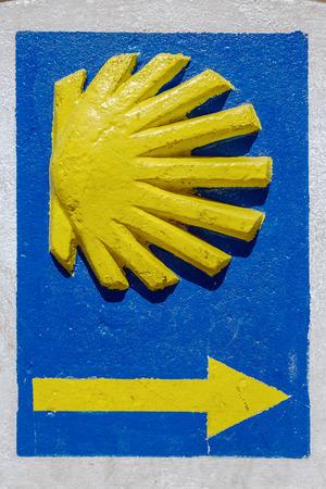 way of st james: Scallop indicator signal pilgrims santiago road passing through Ponferrada,Leon Spain, Detail