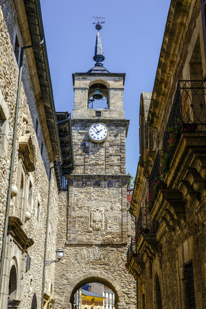 Clock Tower is located on the Arco de la Eras, located on one of the gates of the medieval wall, unique that is conserved, Ponferrada Spain