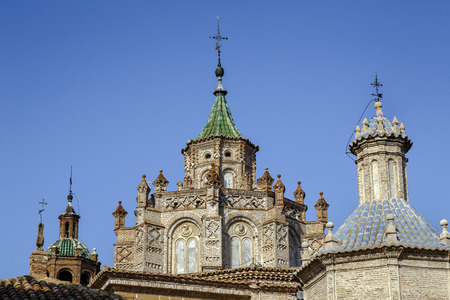 mudejar: Details of cityscape Cathedral at Teruel, Aragon, Spain