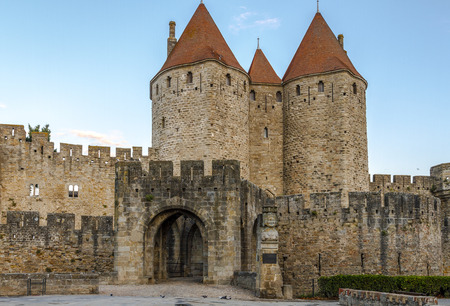 La Dame Carcas, located opposite the entrance towers of the city, Carcassonne France. Stock Photo