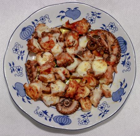 octopus galician style, pulpo a la gallega, spanish tapas dish Stock Photo
