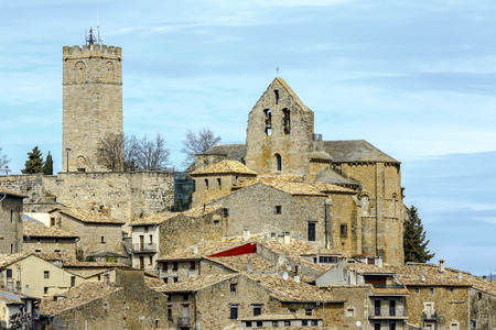 Sos del Rey Catolico, church of San Esteban is located next to the castle, Navarra Spain