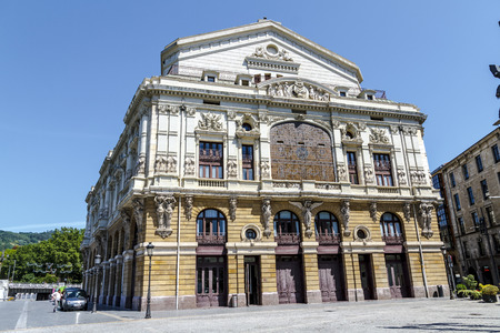 Bilbao, Spain - August 8, 2012: Teatro Arriaga in the capital of Vizcaya, Pais Vasco. Neobarroco building of the nineteenth century, work of the architect Joaquin de Rucoba and dedicated to the Bilbao composer Juan Crisostomo de Arriaga Editorial