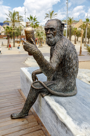 Badalona , Spain - July 15, 2012: Sculpture of Anis del Mono, at the entrance of the Pont del Petroli, inaugurates on Saturday July 7, 2012 the most famous anise of Spain Work of the artist Susana Ruiz