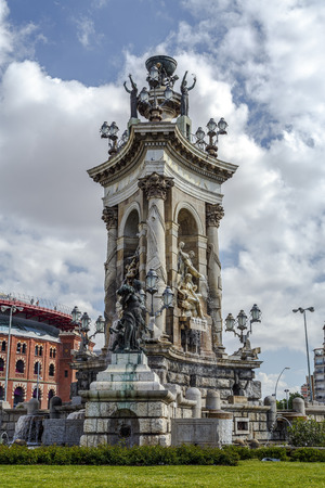 Statues and Fountain at Plaza de Espana, in Barcelona Spain
