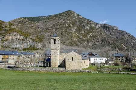Roman Church of Sant Feliu in Barruera, (Catalonia - Spain). This is one of the nine churches. Stock Photo