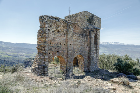 Castle of Llorda located in the municipality of Isona and Conca Della, in the Catalan region of Pallars Jussa. Catalonia Spain. Stock Photo