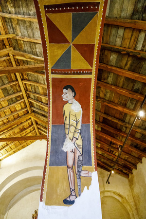 Boi, Spain - March 29, 2017:The paintings from Sant Joan in Boi make up what is considered one of the finest groups in Catalan Romanesque painting.