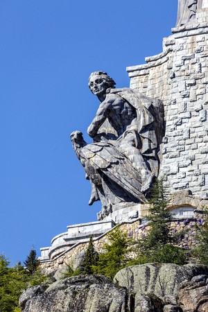 Sculptures by Juan de Avalos in cross Valley of the Fallen, Valle de los Caidos, Madrid, spain Stock Photo