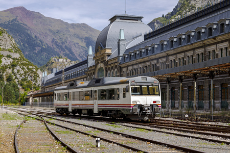 Canfranc, Spain - August 30, 2017: Abandoned railway station of Canfranc Huesca Spain Editorial