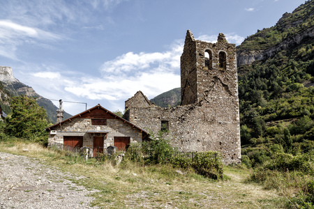 Old Trinidad Church of Canfranc Huesca Spain, Abandoned Stock Photo