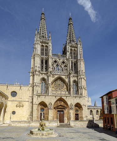 Front portal of the cathedral in Burgos, Spain, which is under protection of UNESCO  Standard-Bild