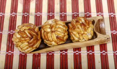 Typical Spanish pastry panellets in Catalonia at All Saints Day Stock Photo