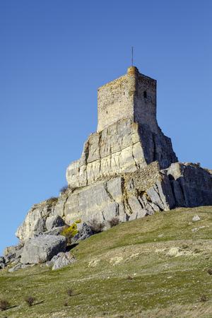 Homenaje tower of Castle Atienza medieval fortress of the twelfth century (Route of Cid and Don Quixote) Guadalajara province Castilla La Mancha Spain.