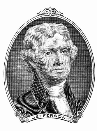 Portrait of former U.S. president Thomas Jefferson as he looks on two dollar bill obverse. Clipping path inside. 写真素材