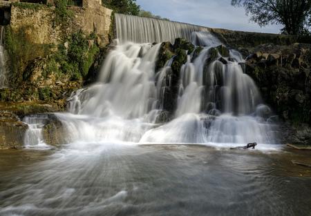 Natural waterfall in Sant Joan de les Fonts, Catalonia, Spain
