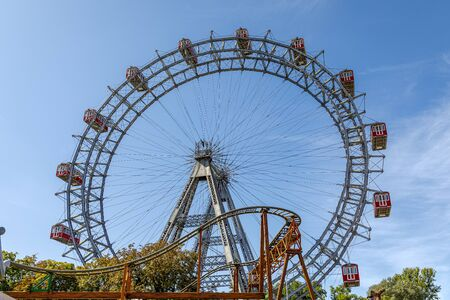 The Vienna Prater is a modern theme park with over 250 attractions that provide adrenaline. Prater Ferris Wheel - icon of city