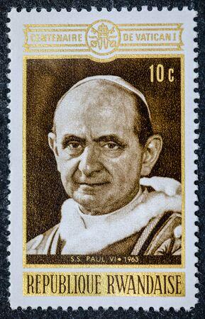 RWANDA - CIRCA 1961: A stamp printed in Rwanda shows Pope Paul VI circa 1961 Sajtókép