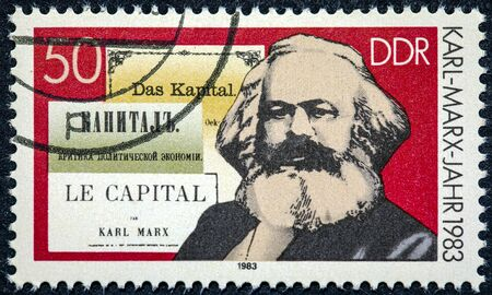 GERMANY - CIRCA 1983: A stamp printed in German Democratic Republic shows Karl Marx and the book Capital circa 1983