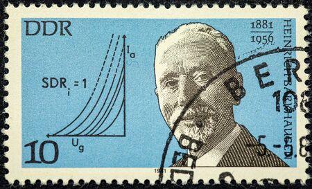 GERMANY- CIRCA 1981: stamp printed by Germany, shows Heinrich Barkhausen, German physicist, circa 1981.