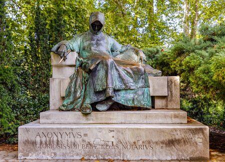 Budapest, Hungary - November 15, 2019:  Statue of Anonymous, Vajdahunyad Castle, Budapest, Hungary .installed in 1903