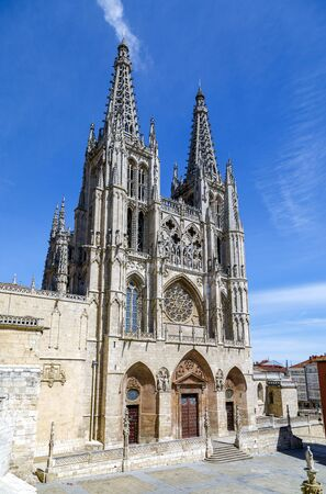 Front portal of the cathedral in Burgos, Spain, which is under protection of UNESCO Editorial