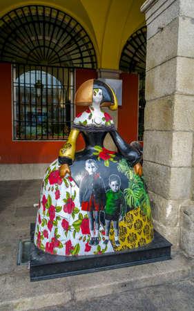 "Madrid, Spain - November 10, 2019: Spanish Menina in the city center. The artist Antonio Azzato creates an impressive exhibition recalling the famous ""meninas"" from Velazquez. Redakční"